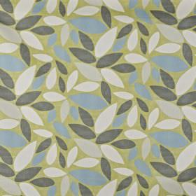 Pimllico - Fennel - Simple, stylised leaves in ivory, pale grey, iron grey and duck egg blue on an olive green 100% cotton fabric background