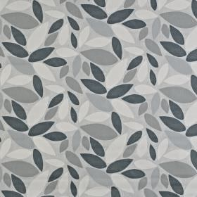 Pimllico - Pebble - Leaf patterned 100% cotton fabric scattered with a simple, stylised design in various different shades of grey