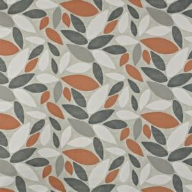 Pimllico - Mango - Brick red and shades of grey making up a simple leaf pattern scattered over fabric made from 100% cotton