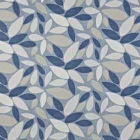 Pimllico - Denim - Chalk white, ash grey and navy blue leaves creating a simple, fun design on light, dusky blue 100% cotton fabric