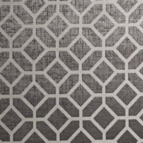 Geo - Chrome - Fabric made from dark gunmetal grey coloured polyester and cotton, with a pale grey simple, stylish geometric design