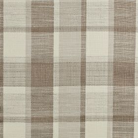 Ratio - Latte - Polyester, cotton and viscose blend fabric woven with a classic checked design in brown-grey, light grey and cream