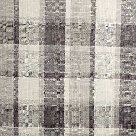 Ratio - Chrome - A classic checked design woven in polyester, cotton and viscose blend fabric in off-white and dark shades of grey