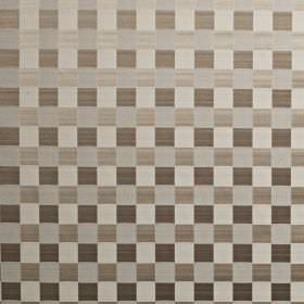 Dimension - Latte - Checkerboard patterned cotton and polyester blend fabric, made in various shades of silver and dark grey-brown