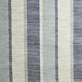 Relief - Colonial - Fabric made from polyester, cotton and viscose, with a semi-plain vertical stripe design in light blue, pale grey and navy