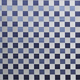 Dimension - Colonial - Silver, Royal blue and navy coloured cotton and polyester blend fabric featuring a simple, elegant checkerboard patte
