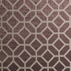 Geo - Dubarry - Simple geometric shapes printed in light silver-grey over a dark purple-grey polyester and cotton blend fabric background