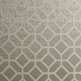 Geo - Pearl - Cotton and polyester blend fabric printed with a simple, subtle, elegant geometric design in 2 similar shades of silver