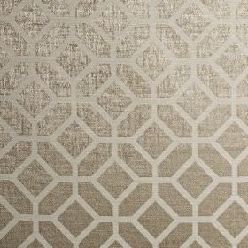 Geo - Latte - Pale grey and grey-beige fabric made from polyester and cotton, featuring a simple, sophisticated geometric design