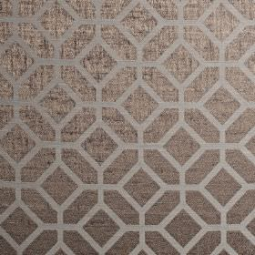 Geo - Mocha - Dark grey polyester and cotton blend fabric behind a simple geometric design in pale grey, both with a subtle purple tinge