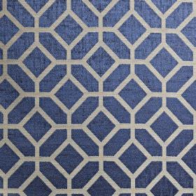 Geo - Colonial - Luxurious Royal blue coloured polyester and cotton blend fabric printed with a simple geoemtric design in silver