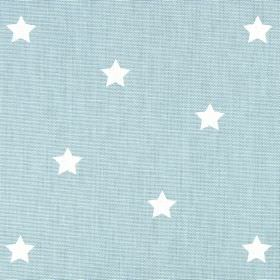 Twinkle - Porcelain - Small white stars printed on a baby blue coloured 100% cotton fabric background