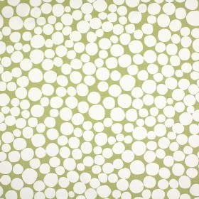 Fizzle - Eucalyptus - 100% cotton fabric made in light green and white, patterned with small pebble and circle shapes