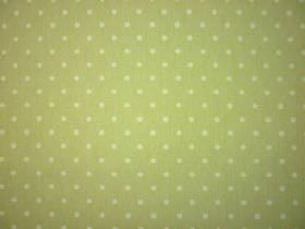 Full Stop - Parchment - Small pale green dots arranged in rows over grass green coloured 100% cotton fabric