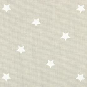 Twinkle - Oatmeal - Beige coloured 100% cotton fabric behind a design of small, simple white stars