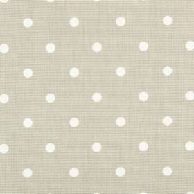 Full Stop - Oatmeal - 100% cotton fabric in beige, featuring a simple white polka dot design