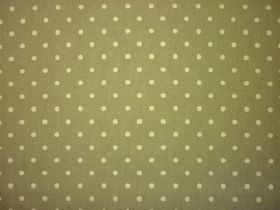 Full Stop - Vellum - Fabric made from 100% cotton in khaki green, patterned with a small polka dot design in a lighter shade of green