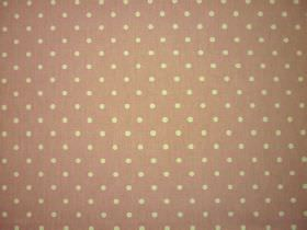 Full Stop - Rose - Creamy yellow coloured polka dots printed on 100% cotton fabric in a dusky pink colour with a tinge of green