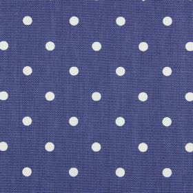 Full Stop - Denim - Bright white polka dots printed on a background of vivid blue-purple coloured 100% cotton fabric