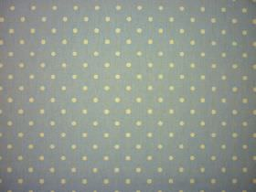 Full Stop - Indigo - Light green polka dots on a light grey coloured 100% cotton fabric background
