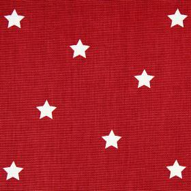 Twinkle - Cardinal - Star print patterned 100% cotton fabric with a white design on a bright red background