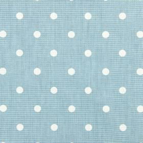 Full Stop - Azure - 100% cotton fabric in pale blue behind a simple polka dot design in white