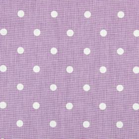 Full Stop - Lilac - Lilac coloured 100% cotton fabric behind rows of white polka dots