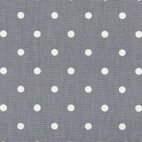 Full Stop - Slate - Rows of white polka dots arranged neatly over dove grey coloured 100% cotton fabric