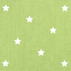 Twinkle - Eucalyptus - Fabric made from light green and white coloured cotton, featuring a pattern of small, simple stars