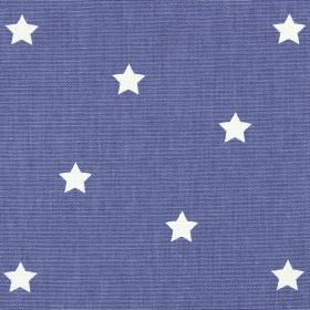 Twinkle - Denim - Small white stars against a bright violet coloured 100% cotton fabric background