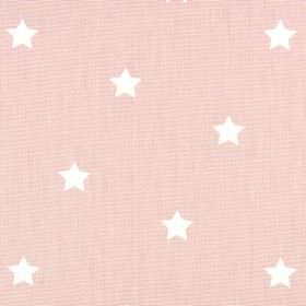 Twinkle - Dusk - 100% cotton fabric made in a very pale shade of pink, patterned with a series of small, simple white stars