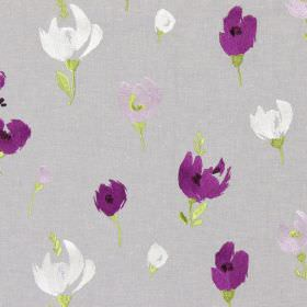 Beau - Foxglove - Grey fabric with a foxglove purple modern floral design