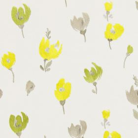 Beau - Daffodil - White fabric with a daffodil yellow modern floral design