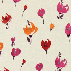 Beau - Fuchsia - Sandy fabric with a fuchsia pink modern floral design