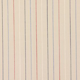 Trail - Navy and#38; Red - Sandy fabric with navy blue and red vertical stripes