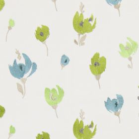 Beau - Apple - Sandy fabric with a apple green modern floral design