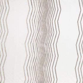 Boulevard - Pearl - Modern pearl white fabric with differently spaced gold vertical zig zag lines