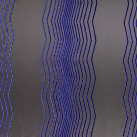 Boulevard - Electric - Modern brown fabric with differently spaced electric blue vertical zig zag lines
