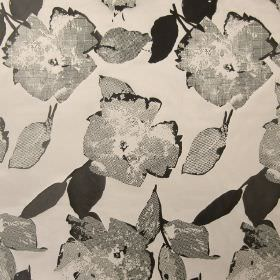 Santa Monica - Pewter - Pewter grey fabric with a modern dotted floral impression
