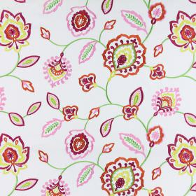 Lovina - Tropical - A design of simple, stylised flowers embroidered in summery pinks, oranges, greens and yellows on cotton fabric in white
