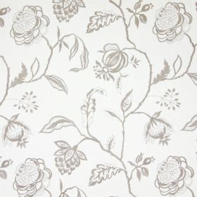Lahini - Natural - Silver-grey threads embroidered in a pattern of flowers, leaves and branches on white cotton fabric
