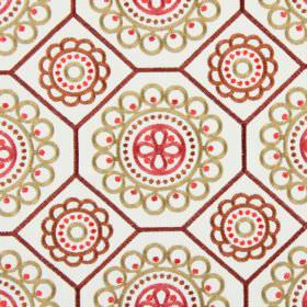 Mambo - Tabasco - Off-white fabric embroidered with dark red geometric shapes and a pattern of beige and pink circles of different sizes