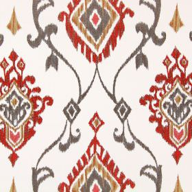 Tuvalu - Tabasco - Swirls and geometric shapes embroidered in light brown, burnt orange and gold on fabric in an off-white colour