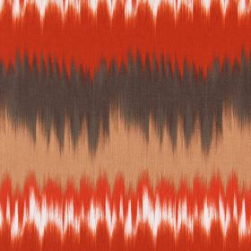 Malibu - Tabasco - Blended bright orange, brown, light orange, terracotta and white bands printed horizontally on cotton fabric