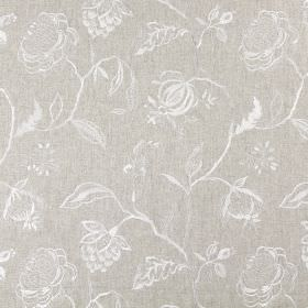 Lahini (Linen) - Linen - Fabric in a very light shade of brown, with a pattern of white line drawings of flowers, leaves and branches on top