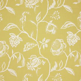 Lahini - Saffron - Simple line drawings of white flowers, leaves and branches on a cotton fabric background in yellow-green