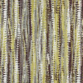 Fiji - Saffron - Cotton fabric with grey, khaki, dark brown and white stripes which are rough, uneven, dotted and slightly abstract in design