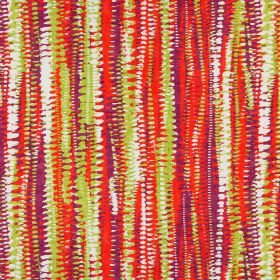Fiji - Tropical - Brightly coloured cotton fabric with rough, uneven, overlapping abstract stripes in orange, purple, lime green and white