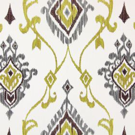 Tuvalu - Saffron - Off-white coloured fabric with an embroidered pattern of metallic gold, silver and brown swirls and geometric shapes