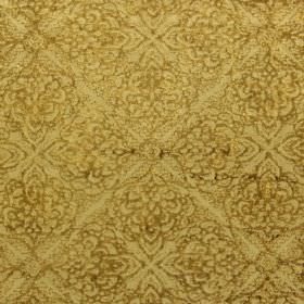 Samba - Saffron - Subtly patterned fabric with a gold background for a brown-gold repeated design